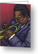 Person Pastels Greeting Cards - Miles Davis Greeting Card by Kamil Swiatek