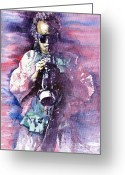 Celebrities Painting Greeting Cards - Miles Davis Meditation 2 Greeting Card by Yuriy  Shevchuk