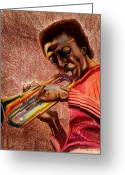 African American Art Drawings Greeting Cards - Miles in Color 3 Greeting Card by Dallas Roquemore