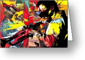 Instruments Mixed Media Greeting Cards - Miles Greeting Card by Kevin Newton