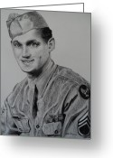 Military Hero Drawings Greeting Cards - Military Heroes Greeting Card by Carla Carson