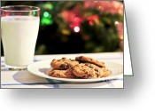 Claus Greeting Cards - Milk and cookies for Santa Greeting Card by Elena Elisseeva