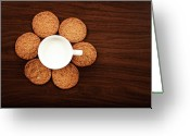 Directly Above Greeting Cards - Milk And Cookies On Table Greeting Card by Elias Kordelakos Photography
