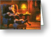 Claus Greeting Cards - Milk and Cookiezzzzz Greeting Card by Greg Olsen