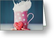 Heart-shape Greeting Cards - Milk And Heart Shape Cookies Greeting Card by Julia Davila-Lampe