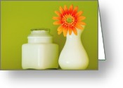 Orange Daisy Photo Greeting Cards - Milk Glass Greeting Card by Linda McRae