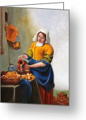 Spiritual Art Greeting Cards - Milk Maid After Vermeer Greeting Card by Enzie Shahmiri