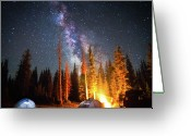 Fire Photo Greeting Cards - Milky Way Greeting Card by William Church - Summit42.com