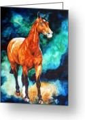 Equine Watercolor Portrait Greeting Cards - Millcreek Raphael Greeting Card by Hanne Lore Koehler