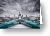 Williams Photo Greeting Cards - Millenium Bridge London Greeting Card by Martin Williams