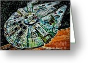 Prince Greeting Cards - Millenium Falcon Greeting Card by Paul Ward