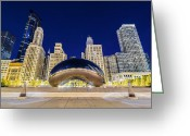 Chicago Artist Greeting Cards - Millenium Skyline Greeting Card by Drew Castelhano