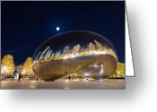 City Illusion Greeting Cards - Millennium Park - Chicago IL Greeting Card by Drew Castelhano