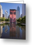 Building Greeting Cards - Millennium Park Fountain and Chicago Skyline Greeting Card by Steve Gadomski