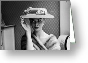 Fashion Model Photography Greeting Cards - Millinery Delight Greeting Card by John Firth