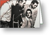 Elvis Greeting Cards - Million Dollar Quartet Greeting Card by Luis Ludzska