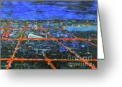 Grid Mixed Media Greeting Cards - Milton Keynes by night Greeting Card by Zbigniew Rusin