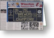 Baseball Drawings Greeting Cards - Milwaukee Brewers 1982 AL Pennant Greeting Card by Marc Yench