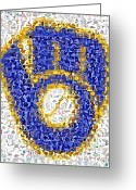 Mlb Mixed Media Greeting Cards - Milwaukee Brewers Mosaic Greeting Card by Paul Van Scott