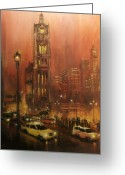 Hall Painting Greeting Cards - Milwaukee City Hall Greeting Card by Tom Shropshire