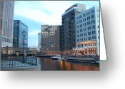 Riverwalk Greeting Cards - Milwaukee River walk Greeting Card by Anita Burgermeister