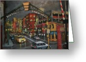 Night Greeting Cards - Milwaukees Historic Third Ward Greeting Card by Tom Shropshire