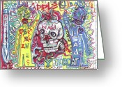 Lowbrow Mixed Media Greeting Cards - Mind Over Matters Greeting Card by Robert Wolverton Jr