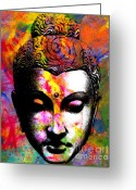 Buddha Digital Art Greeting Cards - Mind Greeting Card by Ramneek Narang