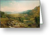 Hillside Greeting Cards - Minding the Flock Greeting Card by Thomas Moran