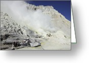 Fumarole Greeting Cards - Mine Machinery And Pool For Cooling Greeting Card by Richard Roscoe