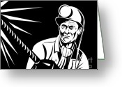 Black And White Digital Art Greeting Cards - Miner Portrait Front  Greeting Card by Aloysius Patrimonio