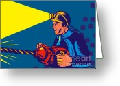 Side View Greeting Cards - Miner With Jack Drill Greeting Card by Aloysius Patrimonio