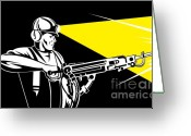 Side View Greeting Cards - Miner With Jack Leg Drill Greeting Card by Aloysius Patrimonio