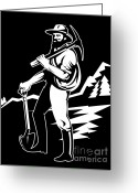 Side View Greeting Cards - Miner With Pick Axe And Shovel  Greeting Card by Aloysius Patrimonio