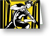 Side View Greeting Cards - Miner With Pneumatic Drill  Greeting Card by Aloysius Patrimonio