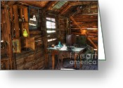 Burro Greeting Cards - Miners Cabin Lost Burro Mine Greeting Card by Bob Christopher
