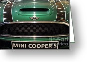 British Classic Cars Greeting Cards - Mini Cooper . 7D9527 Greeting Card by Wingsdomain Art and Photography
