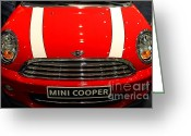 Red Sportscar Greeting Cards - Mini Cooper . 7D9534 Greeting Card by Wingsdomain Art and Photography