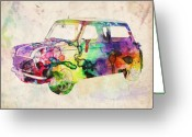 Retro Greeting Cards - MIni Cooper Urban Art Greeting Card by Michael Tompsett