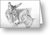 Mini Drawings Greeting Cards - Mini Donkey Mom and Baby Greeting Card by Gail Finger