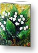 Lilies Sculpture Greeting Cards - Mini lilies of the valley Greeting Card by Raya Finkelson
