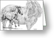Mini Drawings Greeting Cards - Mini Magic - Miniature Horse Art Print Greeting Card by Kelli Swan