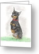 Mini Drawings Greeting Cards - Mini Pin - Vinnie Greeting Card by Don  Gallacher