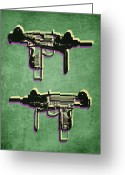 Machine Greeting Cards - Mini Uzi Sub Machine Gun on Green Greeting Card by Michael Tompsett