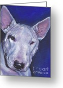 Bull Terrier Greeting Cards - Miniature Bull Terrier Greeting Card by Lee Ann Shepard
