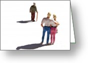 Shadows Greeting Cards - Miniature figurines couple watching elderly man Greeting Card by Bernard Jaubert