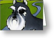 Yellow Dog Greeting Cards - Miniature Schnauzer Greeting Card by Leanne Wilkes