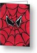 Spider Man Greeting Cards - Minimal Spiderman Greeting Card by Jera Sky