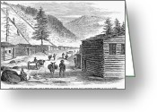 Street Scene Greeting Cards - Mining Camp, 1860 Greeting Card by Granger