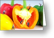 Interesting Art Greeting Cards - Mining in colorful peppers Greeting Card by Mingqi Ge
